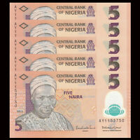 Lot 5 PCS, Nigeria 5 Naira, 2009-2015, P-NEW, Polymer, UNC