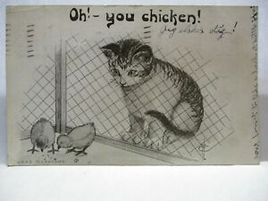 1910 POSTCARD OH! YOU CHICKEN! CAT WATCHING CHICKS