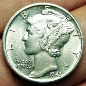 USA Mercury dime (10 cents) 1943 coin (UNC!! Superb! SILVER!)