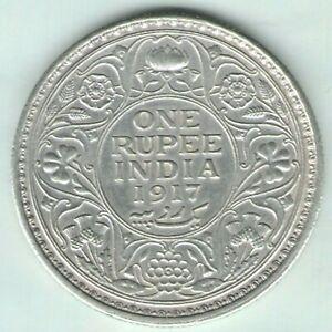 BRITISH INDIA -1917 - GEORGE V ONE RUPEE SILVER COIN NICE GRADE EX-RARE DATE