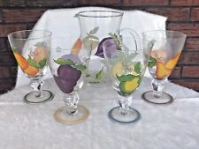 Glass Pitcher With Matching Glasses Fruit Design Garden Party Ware