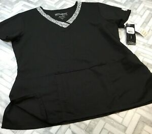 Grey's Anatomy Barco Active Short Sleeve Scrub Uniform Shirt Large Black White