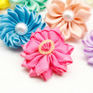 20x Pet Dog Cat Hair Bows Pearl Flowers Rubber Band Puppy Headdress Accessories