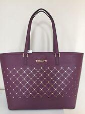 NEW Michael Kors Signature Carryall PVC LARGE Tote Bag Trim Violet Plum