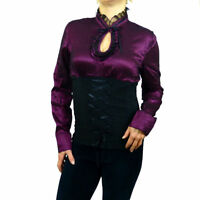 Steampunk Sexy Cotton Victorian Goth Longsleeve Shirt Corset Top 8 10 12 14 16