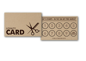 50 x Rustic Kraft Paper Loyalty Reward Cards for Barbers Salons Hair Dressers