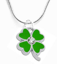Clover Ladies Necklace Pendant Rhinestone 45cm Jewelry Fashion Silver Colored