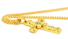 Mens 14k Gold Plated Jesus Curved Cross Pendant Hip-Hop Chain Necklace