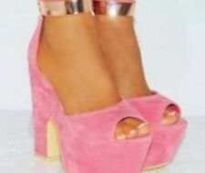 Koi Couture Ladies Shoes, Pink Velvet With Brass Ankle Strap, Size 6
