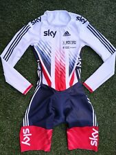 BNWOT British Cycling GB Team Issue Sky Adidas TT LS Speed Padded Skin Suit ~ S