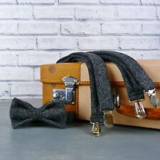Handmade Yorkshire Tweed Bow Tie and Braces - Charcoal Herringbone