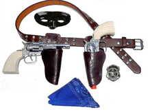 Kids Masked Lone Texas Ranger Brown Holster Set w/ Toy Cap Guns + Bandana (Brn)