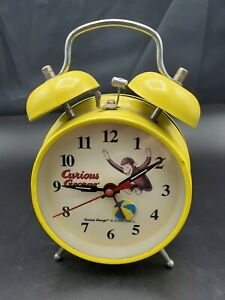 1998 Curious George Yellow Twin Bell  Alarm Clock HMCo Works