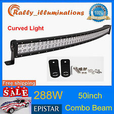 50INCH CURVED 288W LED WORK LIGHT BAR COMBO 4WD FOG TRUCK JEEP SAVE 300W 52/54''
