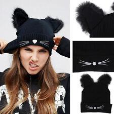 Womens Beanie Devil Horns Winter Cat Ear Crochet Braided Knit Wool Cap Hat New
