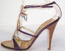 GIUSEPPE ZANOTTI Purple Satin Fringe Jeweled Sandals Shoes 39.5