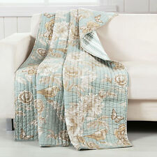 NAOMI SPA QUILTED THROW : GREEN FLORAL BIRDS COTTAGE REVERSIBLE STRIPE CHIC