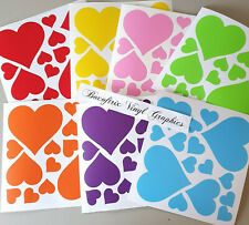 Rainbow Of Hearts Vinyl Wall Art Stickers Kids Bedroom Decals 7colours 105Hearts