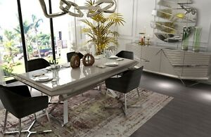 Modern  Metal Legs Classic Dining Table and 6 Chairs