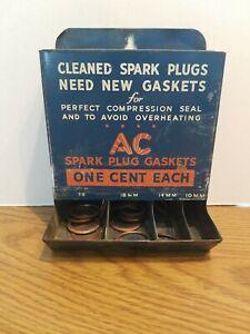 (VTG) AC SPARK PLUGS GASKET METAL GAS OIL STATION ADVERTISING DISPLAY SIGN