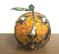 RARE Jack O'Lantern Stained Glass Pumpkin Halloween Tea Light Candle Holder deco