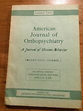 American Journal of Orthopsychiatry January 1948 Psychiatry Fried Hay LeShan