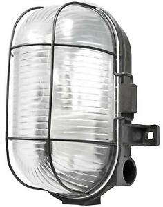 LED ES E27  Indoor Outdoor Weatherproof Oval Bulkhead With Metal Cage Black