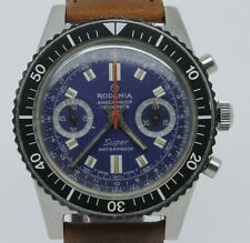 VINTAGE Rodania Super Waterproof Mens 39mm Steel Chronograph Watch Landeron 149