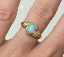 Triple AAA .48 ctw Vintage Oval Opal Cabochon Ring 14k Gold