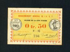 Ivory Coast(Cote D'ivoire):P-1c,0.50 Franc,1917 * French Rule * EF *