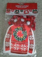 Ugly Sweater Party Tinsel & Sweater Cutout Hanging Decorative Christmas Garland