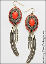 Boho Metal Orange/Coral Gold Oxidized Feather Earrings Dangle Wire Gypsy Cowgirl