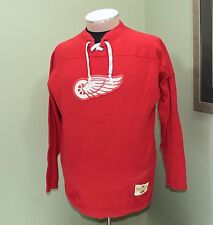 Ebbets Field Flannels NHL Heritage Detroit Red Wings Shirt With Skate lace Sz L