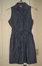 BODY CENTRAL Womens Sleeveless Chambray Navy 100% Cotton Dress Size M / Medium 7