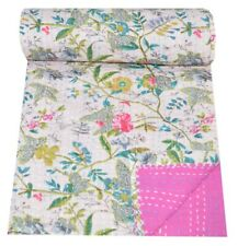 Kantha Quilt Indian Handmade Floral Print Bedspread Cotton Blanket Twin Size
