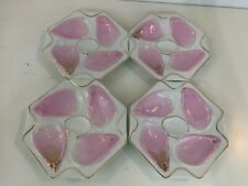 Antique Likely German Porcelain Set of 4 Octagonal Pink Oyster Plates