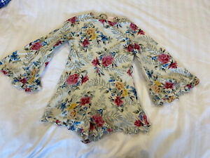 MARLO Girl's Playsuit Romper 9-10 Yrs Cream floral - As New
