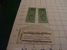 vintage paper item: 2 joke -  gag - theatre tickets in envelope, funny