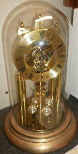 NICE GERMAN BRASS & GLASS SIEGFRIED HALLER ELGIN 400 DAY DOME ANNIVERSARY CLOCK!