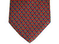 "Kensington Lord Taylor Mens Necktie Tie Red Blue Green Geometric 100% Silk 59"""