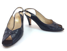 SH4 Salvatore Ferragamo 8 AA Blue Leather Slingback Peep Toe Pumps Heels Italy
