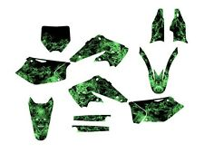 2004 2005 KX 250F GRAPHICS KIT KAWASAKI KXF250 DECALS #9500 GREEN ZOMBIE SKULL