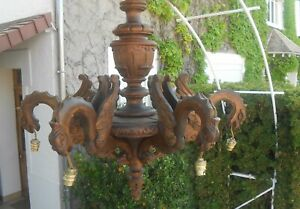 ANTIQUE FRENCH GOTHIC BLACK FOREST HAND CARVED WOOD CHANDELIER DRAGON CASTLE