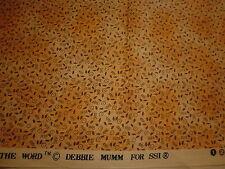 Cotton Fabric SSI Debbie Mumm  Little Black Seed Motifs on Gold Mottled 1YD18