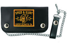 """Authentic LUCKY 13 Panther Head Genuine Leather 6"""" Chain Wallet Black Gold NEW"""