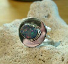 Opal Ring Silber 925 Größe flexibel Designerring Doppelband Spirale neu wow R10