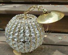 Vintage Mid-century EJS Light Corp Hanging crystal chandelier Globe light