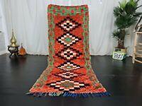 Handmade Vintage Moroccan Runner Rug 2'9x7'1 Berber Geometric Red Green Wool Rug