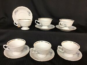 Royal Kent Poland China Violets Set Of 6 Cups And Saucers