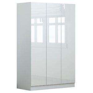 Modern White Gloss 3 Door Wardrobe Large Shelving Scandinavian Style Furniture